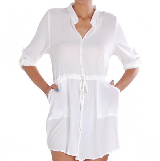 e03a060976a1 Cinched Waist Shirtdress - Lightweight Button Tab Pocket Tunic