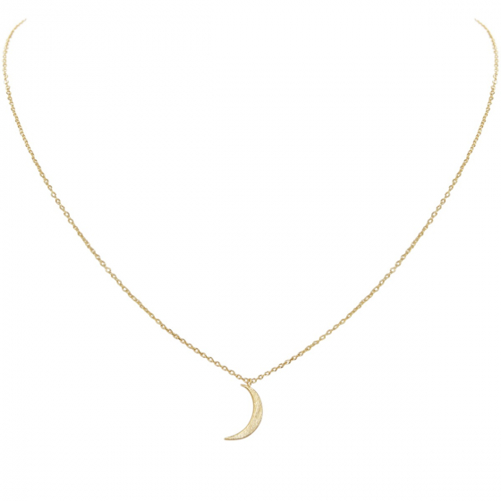 86ad8513c9 Gold Tiny Crescent Moon Necklace - Delicate Celestial Pendant Curved Luna Chain  Link