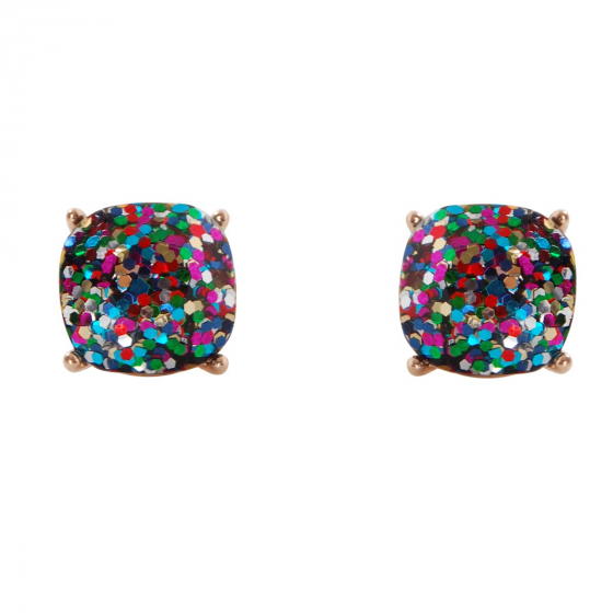 73a8156b1 Faceted Glitter Square Stud Earrings Cushion Cut Statement Post Ear Studs