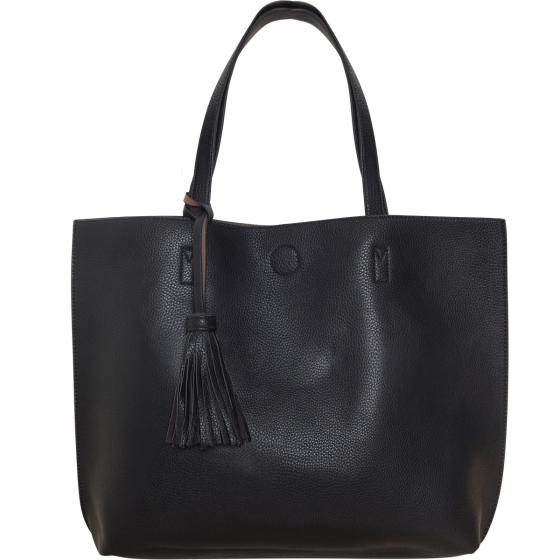 Black Large Vegan Leather Tote Bag Reversible Shoulder Handbag Tassel Purse