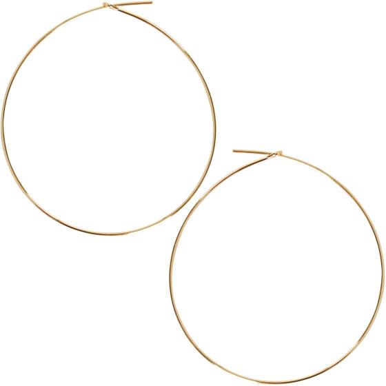 Large Gold Round Hoop Earrings For Women Hypoallergenic Lightweight Wire Threader Loop Drop Dangles
