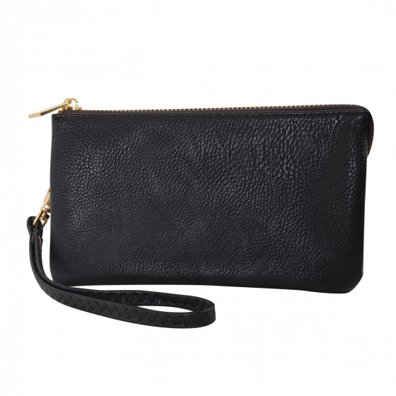 Black Vegan Leather Wristlet Wallet Clutch Bag Small Phone Purse Handbag