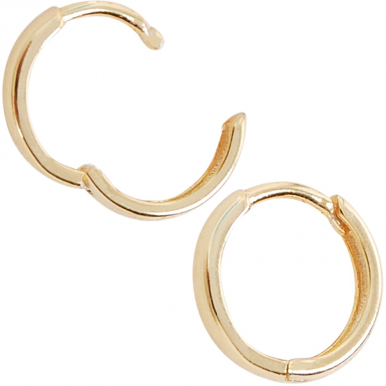 Hypoallergenic Earrings 2mm Thick 2x12mm Gold Plated Sterling Silver Huggie Hoop Earrings For Women or Girls High Polished Huggies Earrings
