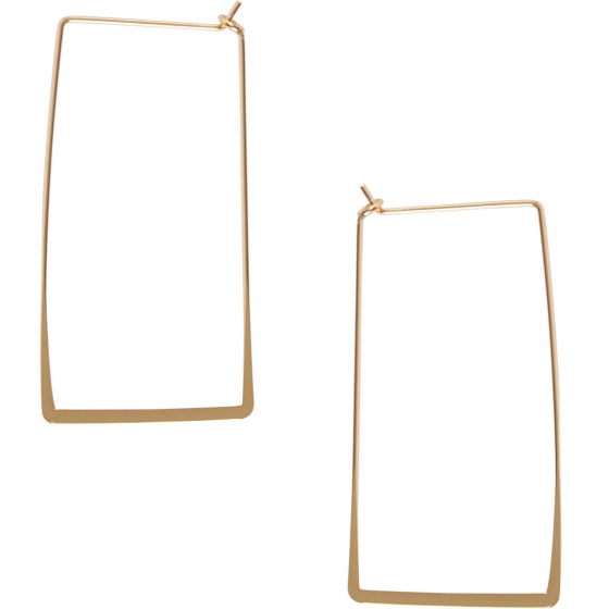 Geometric Chevron Threader Hoop Earrings Plated in 925 Sterling Silver or 18k Gold Hypoallergenic Lightweight Cutout Thin Wire Drop Dangles by Humble Chic NY