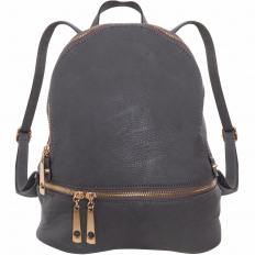 Multi-Zip Backpack - Vegan Leather - Charcoal