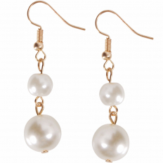Pearl Dangles - Gold-Tone Large Double Dangle