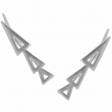 Cutout Triangle Ear Crawlers - Silver-Tone