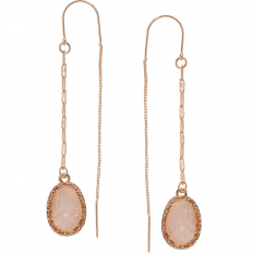 Druzy Chain Bar Threaders - Rose-Quartz