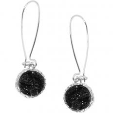 Druzy Threader Dangles - Black Silver-Tone