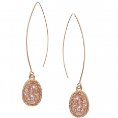 Druzy Needle Drops - Rose Gold-Tone