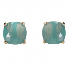 Faceted Square Studs - Aqua