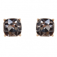 Faceted Square Studs - Hematite