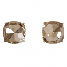 Faceted Square Studs - Topaz