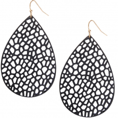 Vegan Leather Filigree Earrings