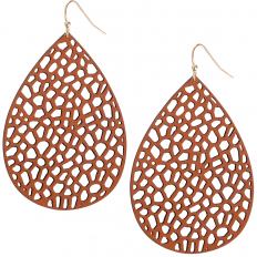 Vegan Leather Filigree Earrings - Brown