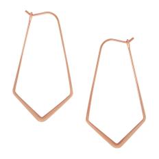 "Geometric Threader Hoops - 18K Rose Gold Plated - 1.5"""