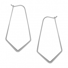 """Geometric Threader Hoops - 925 Silver Plated - 1.5"""""""