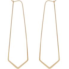 "Geometric Threader Hoops - 18K Gold Plated - 3"""