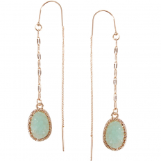 Druzy Chain Bar Threaders - Aqua