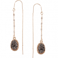 Druzy Chain Bar Threaders - Hematite