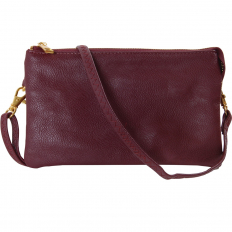 Large Wristlet with Included Cross Body Strap - Burgundy