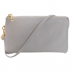 Large Wristlet with Included Cross Body Strap - Dove Grey