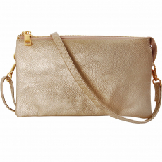 Large Wristlet with Included Cross Body Strap - Gold