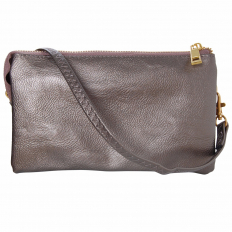 Large Wristlet with Included Cross Body Strap - Gunmetal
