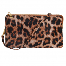 Large Wristlet with Included Cross Body Strap - Leopard