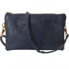 Large Wristlet with Included Cross Body Strap - Navy