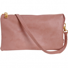 Large Wristlet with Included Cross Body Strap - Dusty Rose