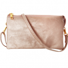 Large Wristlet with Included Cross Body Strap - Champagne