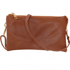 Large Wristlet with Included Cross Body Strap - Saddle