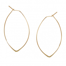 Marquise Threader Hoops - 18K Gold Plated - 1.75""