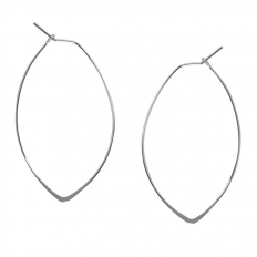 Marquise Threader Hoops - 925 Silver Plated - 1.75""
