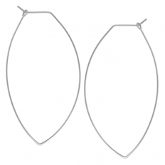 Marquise Threader Hoops - 925 Silver Plated - 2.3""