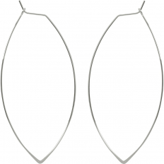 Marquise Threader Hoops - 925 Silver Plated - 3""