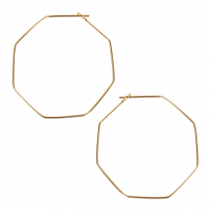 Octagon Hoop Earrings - 18k Gold Plated - 1.4 inch