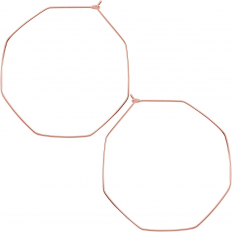 Octagon Hoop Earrings - 18k Rose Gold Plated - 2 inch