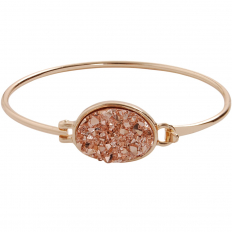 Oval Druzy Bangle - Rose Gold