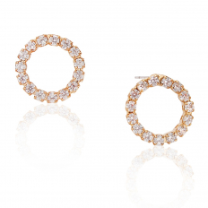 Pave Circle Stud - Gold-Tone - 0.5 inch