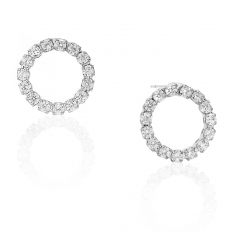 Pave Circle Stud - Silver-Tone - 0.5 inch