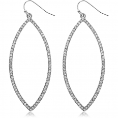 Marquise Dangles - Silver-Tone Pave