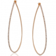 Pave Teardrop Hoops - Gold-Tone - 3.75 inch