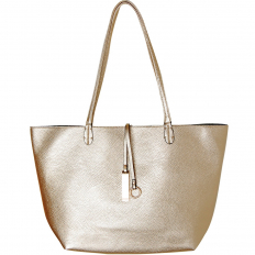 Reversible Vegan Leather Tote - Gold/Silver
