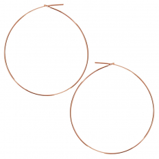Round Hoop Earrings - 18K Rose Gold Plated - 2 inch