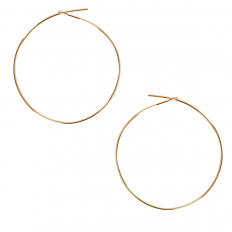 Round Hoop Earrings - 18K Gold Plated - 1.5 inch