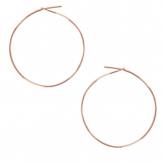 Round Hoop Earrings - 18K Rose Gold Plated - 1.5 inch