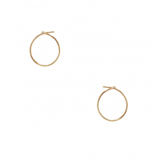 Round Hoop Earrings - 18K Gold Plated - 0.5 inch
