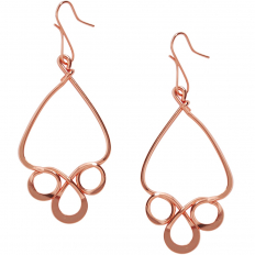 Scroll Dangle Earrings - 18K Rose Gold Plated